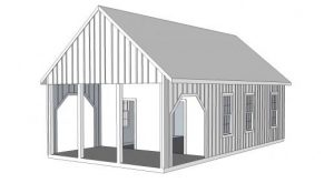 Architectural rendering of planned outbuilding to be located on the grounds. /OBH archives